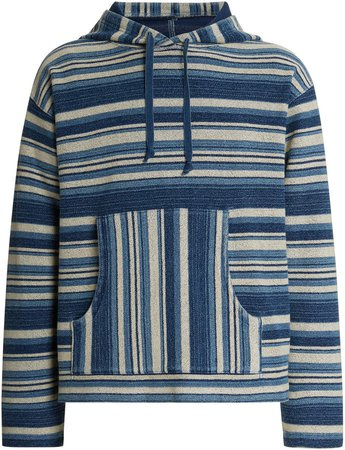 Striped Relaxed Cotton Hooded Sweatshirt