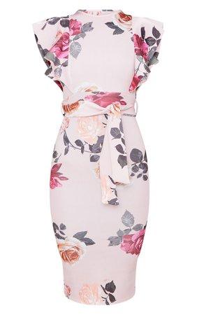 White Floral Print Frill Detail Midi Dress   PrettyLittleThing