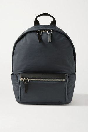 Transience - Flight Leather-trimmed Shell Backpack - Navy
