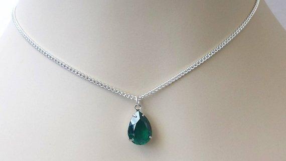Swarovski Emerald Crystal Necklace Emerald Green Crystal | Etsy