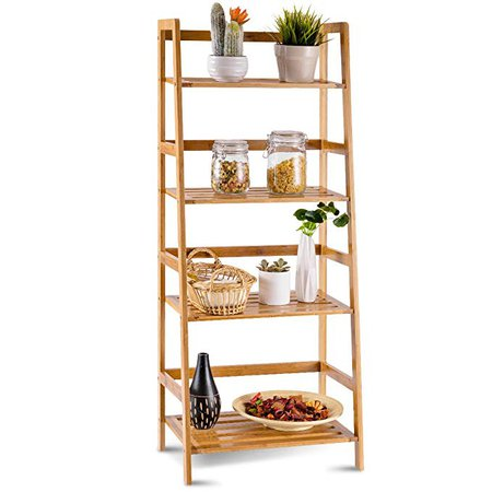 Amazon.com: COSTWAY Bamboo Ladder Shelf Multifunctional Plant Flower Display Stand Storage Rack Bookcase Bookshelf Natural (4 Tier): Kitchen & Dining