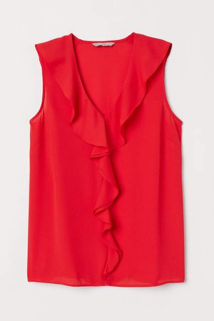 Sleeveless Flounced Blouse - Red