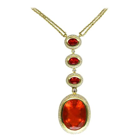 25.75 Carat Fire Opal Diamond Gold Pendant Necklace Fine Estate Jewelry For Sale at 1stDibs