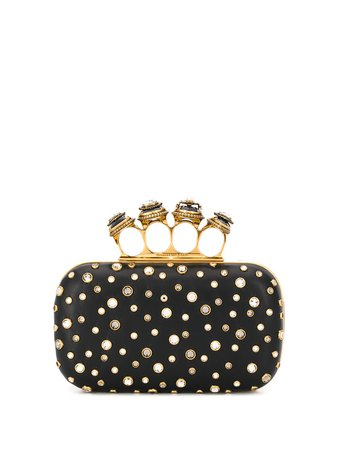 black detailed clutch bag