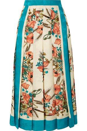Gucci | Pleated floral-print silk-jacquard skirt | NET-A-PORTER.COM