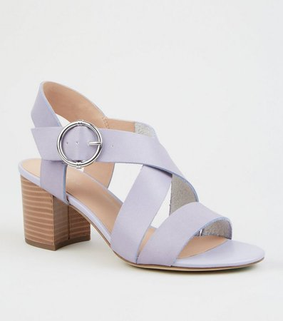 Lilac Leather-Look Cross Strap Block Heels | New Look