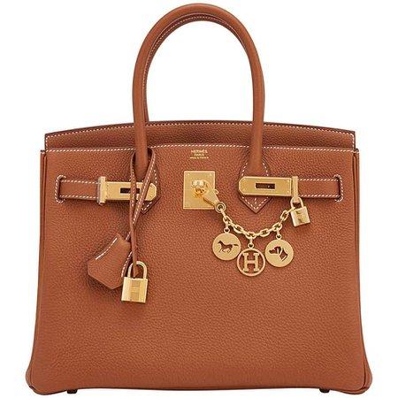 Hermes Birkin 30cm Gold Camel Tan Togo Gold Hardware Bag