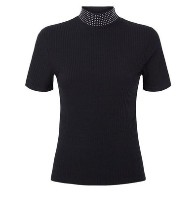 Black Ribbed Diamanté High Neck Top | New Look