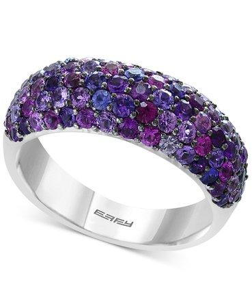 EFFY® Sterling Silver Purple Sapphire Pavé Ring