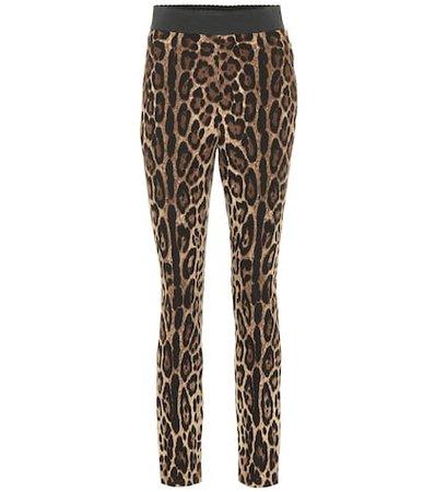 Leopard-print stretch leggings