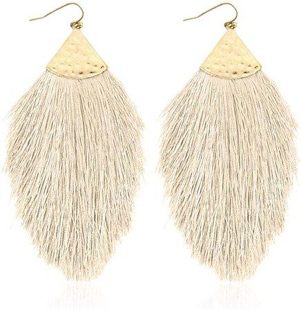 Amazon.com: Bohemian Silky Thread Fan Fringe Tassel Statement Earrings - Lightweight Strand Feather Shape Dangles (Feather Fringe - White): Clothing