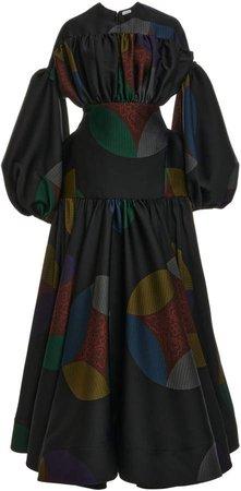 Loewe Gathered Jacquard Gown