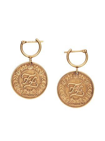 Fendi Karligraphy Earrings 8AG915B08 Gold   Farfetch