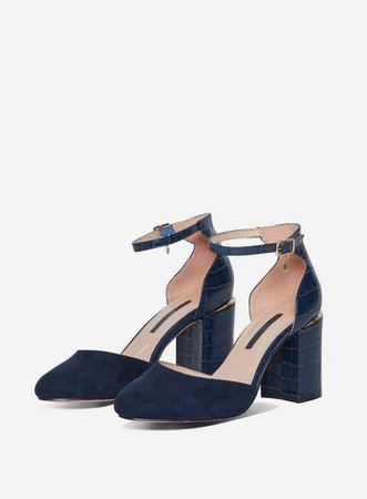Wide Fit Navy 'Debs' Court Shoes | Dorothy Perkins