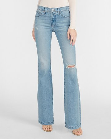Mid Rise Ripped Flare Jeans