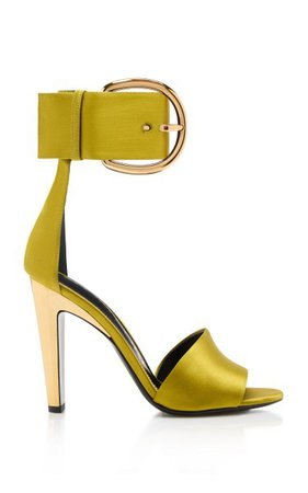 Satin Buckle Embellished Sandals By Tom Ford