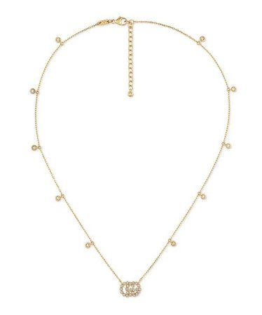 GUCCI GOLD GG RUNNING DIAMOND NECKLACE