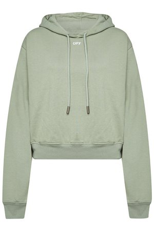 Off-White - Logo Cropped Cotton Hoody - green