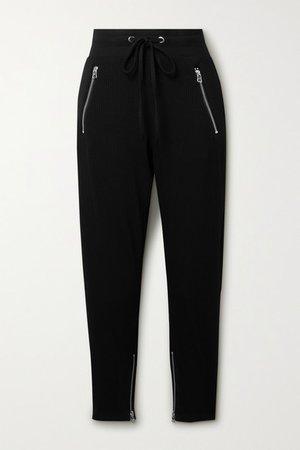 Alloy Ribbed Stretch-jersey Track Pants - Black
