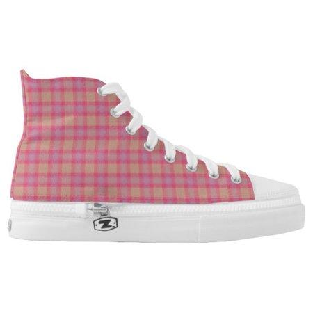 Kobi Plaid High-Top Sneakers   Zazzle.com