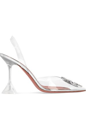 Amina Muaddi | Begum crystal-embellished PVC slingback pumps | NET-A-PORTER.COM