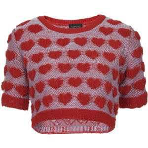 TOPSHOP Plush Heart Knitted Top