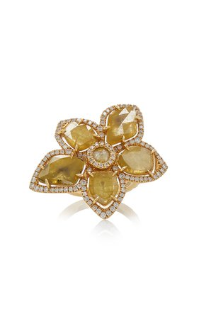 Nina Runsdorf Yellow Slice Diamond Flower Ring Size: 6.5
