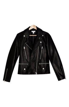 Topshop Fred Faux Leather Biker Jacket (Regular & Petite) | Nordstrom