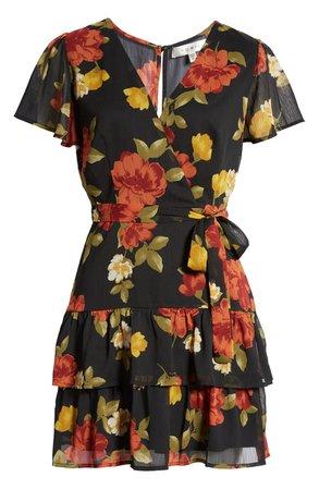 Row A Flutter Sleeve Tiered Minidress | Nordstrom