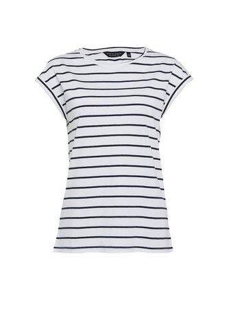 Ivory and Navy Organic Cotton Striped Roll Sleeve T-Shirt | Dorothy Perkins