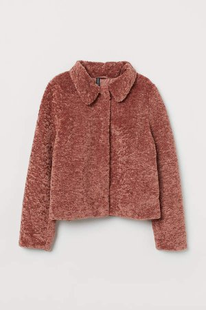 Short Faux Fur Jacket - Pink
