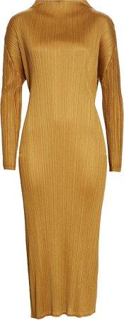 Pleated Long Sleeve Midi Dress