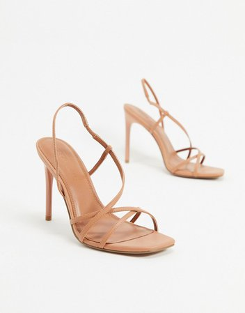 ASOS DESIGN Notorious strappy heeled sandals in beige   ASOS
