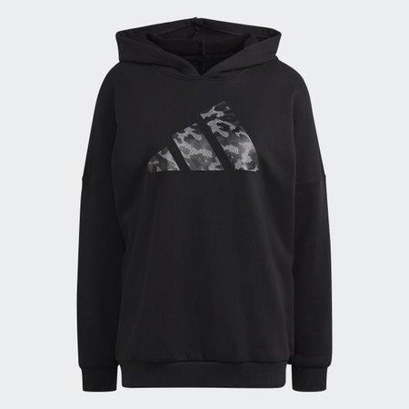 adidas Sportswear Leopard-Print Oversize Hoodie - Black | adidas US
