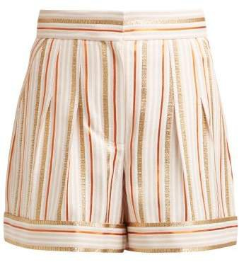 High Rise Striped Shorts - Womens - Pink Multi