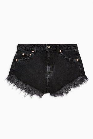Washed Black Super Fray Kiri Denim Shorts | Topshop