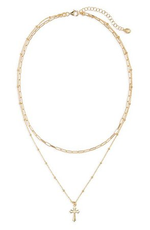 Argento Vivo Sterling Silver Cross Pendant Layer Necklace | Nordstrom