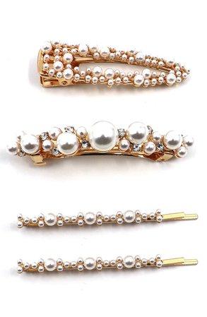 Tasha Assorted 4-Pack Imitation Pearl Hair Clips & Bobby Pins | Nordstrom