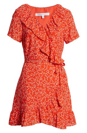 cupcakes and cashmere Kiley Leaf Print Wrap Dress floral mini