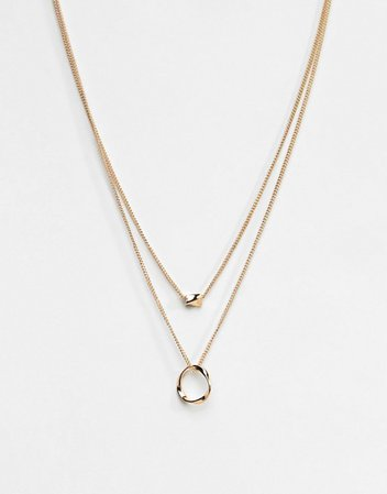 ASOS DESIGN Twisted Nugget Bead And Hoop Multirow Necklace | ASOS
