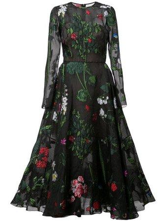 Oscar De La Renta Botanical Cocktail Dress - Farfetch