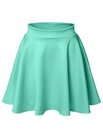 Luna Flower Women's Basic Versatile Stretchy Flared Skater Skirt Light_Green XX-Large (LFWSK0009) at Amazon Women's Clothing store