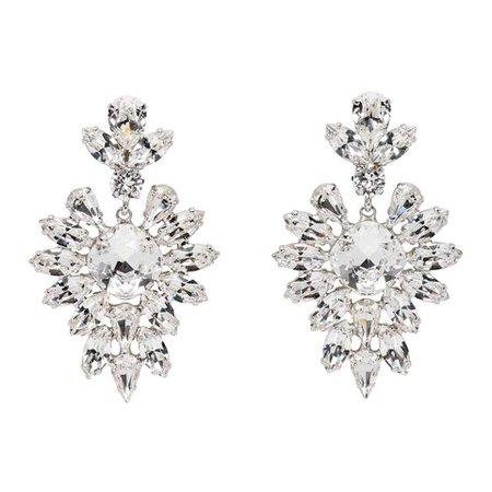 Dolce & Gabbana Women's Metallic Silver Crystal Oversized Earrings