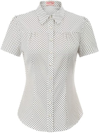 Women's Short Sleeve Office Shirt Button Down Blouse Tops, Off White, Small at Amazon Women's Clothing store