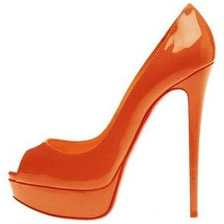 Christian Louboutin Lady Peep-Toe 150mm Pumps Orange