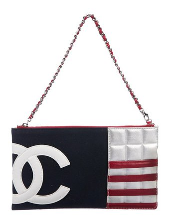 Chanel Clutch New Logo American Flag Zip Chain Purse Red White Blue Canvas Clutch - Tradesy