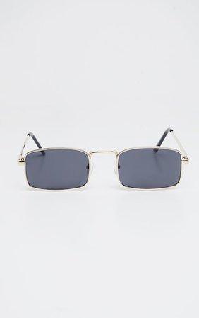 Black Rectangle Metal Frame Glasses   PrettyLittleThing