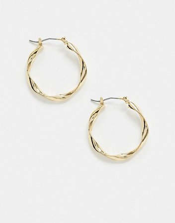 Accessorize Exclusive fluid hoop earrings in gold | ASOS
