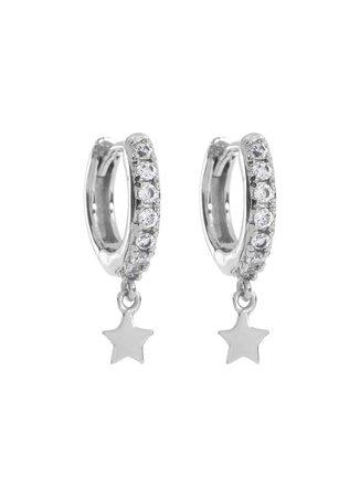 Silver Pave Star Hoop Earrings