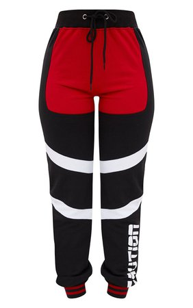 Shape Black/Red Caution Contrast Joggers. Curve | PrettyLittleThing